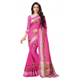 Generic Women's Blended Cotton Linen  Saree (Pink, 5.5-6mtrs)