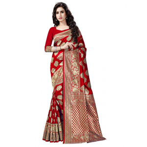 Generic Women's Banarasi Cotton Silk Sarees Saree (Red, 5.5-6mtrs)