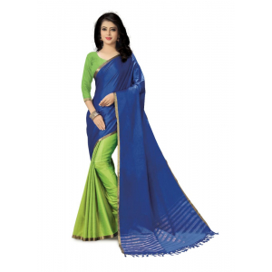 Generic Women's Handloom Cotton Soft Silk Saree (Blue And Green, 5.5-6mtrs)