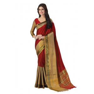 Generic Women's 100% Gas Mercerized Handloom Cotton Soft Silk Saree (Red, 5.5-6mtrs)