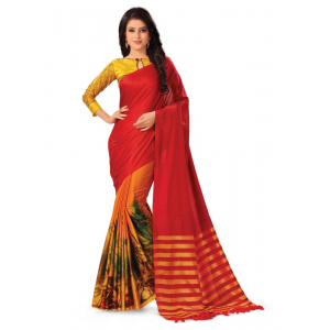 Generic Women's Handloom Cotton Soft Silk Saree (Multi, 5.5-6mtrs)