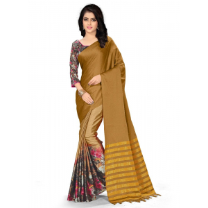 Generic Women's Handloom Cotton Soft Silk Saree (Brown, 5.5-6mtrs)