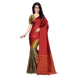 Generic Women's Handloom Cotton Soft Silk Saree (Maroon, 5.5-6mtrs)