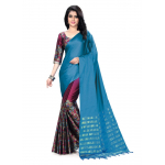 Generic Women's Handloom Cotton Soft Silk Saree (Blue, 5.5-6mtrs)