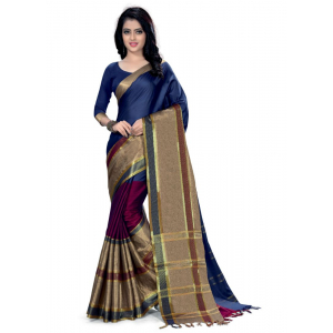 Generic Women's 100% Gas Mercerized  Handloom Cotton Soft Silk Saree (Multi, 5.5-6mtrs)