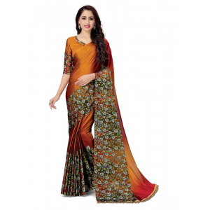 Generic Women's Handloom Cotton Soft Silk Saree (Orange, 5.5-6mtrs)