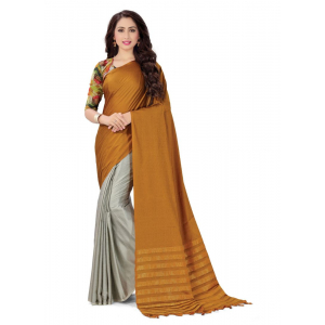 Generic Women's Handloom Cotton Soft Silk Saree (Mustard , 5.5-6mtrs)