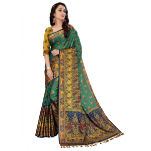 Generic Women's Handloom Cotton Soft Silk Saree (Dark Green, 5.5-6mtrs)