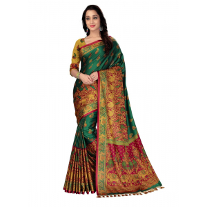 Generic Women's Handloom Cotton Soft Silk Saree (Green, 5.5-6mtrs)