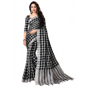 Generic Women's Blended Cotton Linen  Saree (Black, 5.5-6mtrs)