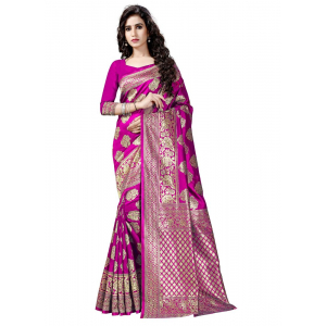 Generic Women's Banarasi Cotton Silk Sarees Saree (Pink, 5.5-6mtrs)