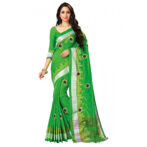 Generic Women's Blended Cotton Linen  Saree (Green, 5.5-6mtrs)