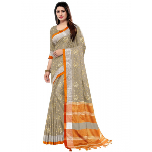 Generic Women's Blended Cotton Linen  Saree (Multi, 5.5-6mtrs)