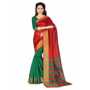 Generic Women's Art Silk Saree (Red And Green, 5.5-6mtrs)