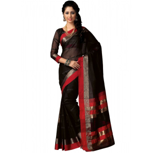 Generic Women's 100% Gas Mercerized Handloom Cotton Soft Silk Saree (Black, 5.5-6mtrs)