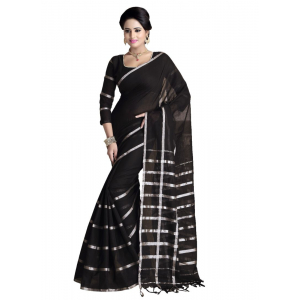Generic Women's Handloom Mersirized Cotton Saree (Black, 5.5-6mtrs)
