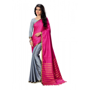Generic Women's Handloom Cotton Soft Silk Saree (Pink  And Gry , 5.5-6mtrs)