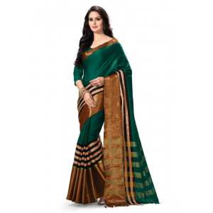 Generic Women's 100% Gas Mercerized  Handloom Cotton Soft Silk Saree (Green, 5.5-6mtrs)