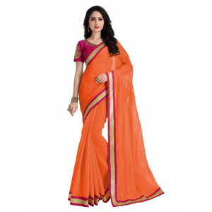 Generic Women's  Georgette Saree (Light Orange, 5.5-6mtrs)