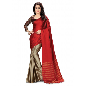 Generic Women's Handloom Cotton Soft Silk Saree (Red, 5.5-6mtrs)