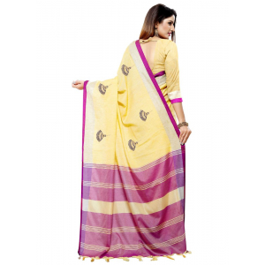 Generic Women's Blended Cotton Linen  Saree (Light Yellow, 5.5-6mtrs)