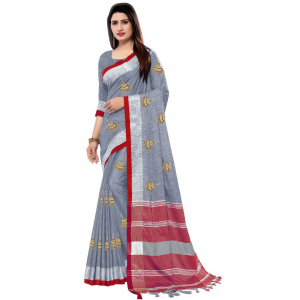 Generic Women's Blended Cotton Linen  Saree (Grey, 5.5-6mtrs)