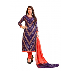 Generic Women's Satin Cotton Salwar Material (Blue, 2-2.5mtrs)