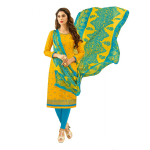 Generic Women's Cotton Jacquard Salwar Material (Yellow, 2-2.5mtrs)