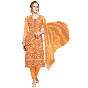 Generic Women's Cotton Salwar Material (Oranage, 2-2.5mtrs)