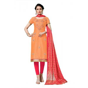 Generic Women's Jam Cotton Salwar Material (Oranage, 2-2.5mtrs)
