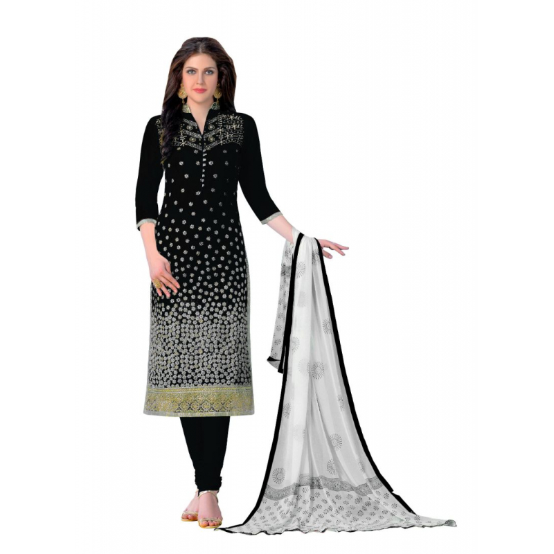 Generic Women's Cotton Salwar Material (Black, 2-2.5mtrs)