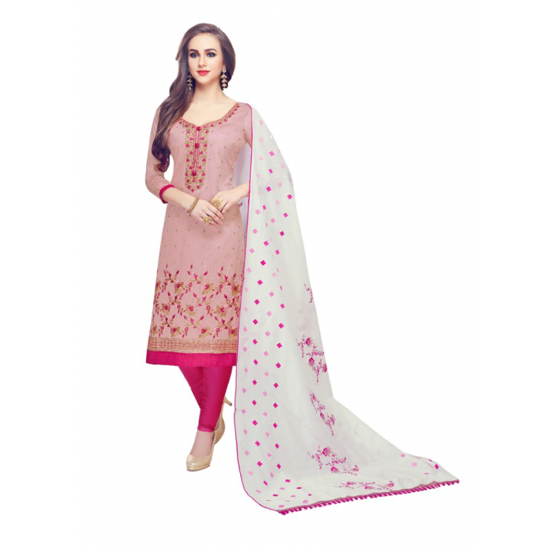 Generic Women's Cotton Salwar Material (Pink, 2-2.5mtrs)