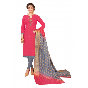 Generic Women's South Slub Cotton Salwar Material (Pink, 2-2.5mtrs)
