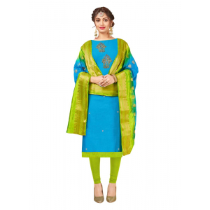 Generic Women's South Slub Cotton Salwar Material (Sky Blue, 2-2.5mtrs)