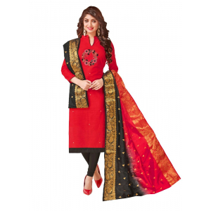 Generic Women's South Slub Cotton Salwar Material (Red, 2-2.5mtrs)