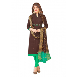 Generic Women's South Slub Cotton Salwar Material (Brown, 2-2.5mtrs)