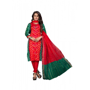 Generic Women's Satin Cotton Salwar Material (Red, 2-2.5mtrs)