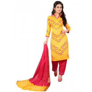 Generic Women's Satin Cotton Salwar Material (Yellow, 2-2.5mtrs)