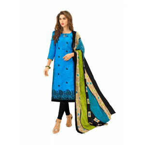 Generic Women's Cotton Jacquard Salwar Material (Blue, 2-2.5mtrs)