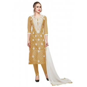 Generic Women's Cotton Salwar Material (Light Brown, 2-2.5mtrs)