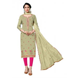 Generic Women's Jam Cotton Salwar Material (Light Green, 2-2.5mtrs)