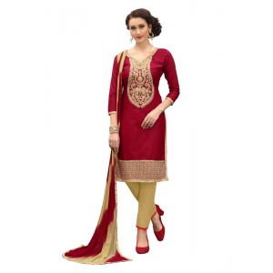 Generic Women's Cotton Salwar Material (Maroon, 2-2.5mtrs)