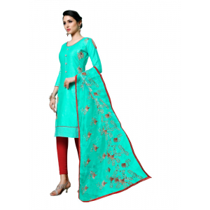 Generic Women's Jam Cotton Salwar Material (Turquoise, 2-2.5mtrs)