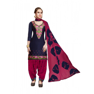 Generic Women's Pure Cotton Salwar Material (Navy Blue, 2-2.5mtrs)