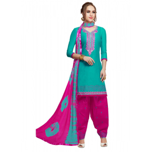 Generic Women's Pure Cotton Salwar Material (Green, 2-2.5mtrs)
