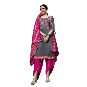 Generic Women's Cotton Salwar Material (Grey, 2-2.5mtrs)