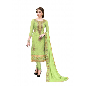 Generic Women's Chanderi Cotton Salwar Material (Green, 2-2.5mtrs)