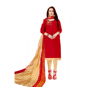 Generic Women's Slub Cotton Salwar Material (Red, 2-2.5mtrs)