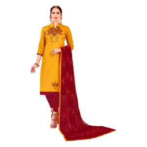 Generic Women's Glaze Cotton Salwar Material (Yellow, 2-2.5mtrs)