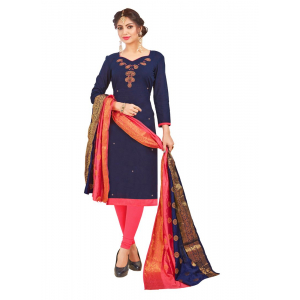 Generic Women's South Slub Cotton Salwar Material (Navy Blue, 2-2.5mtrs)